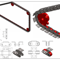 Download 3D printer designs CONVEYOR BELT CHAIN WITH SPROCKETS - DOUBLE PITCH CONVEYOR CHAIN ATTACHMENTS K2 1X1 C216AL-C2082, rodrigotresd