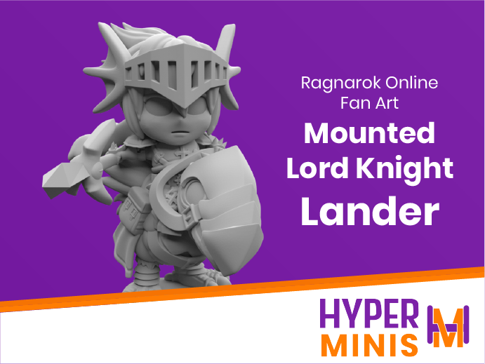 Chibi_Mounted_Lord_Knight_Lander.png Download free STL file Chibi Lord Knight Lander | Ragnarok Online Fan Art • 3D printing object, HyperMiniatures