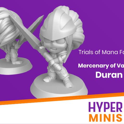 Download free 3D printer designs Chibi Duran | Trials of Mana (Seiken Densetsu), HyperMiniatures