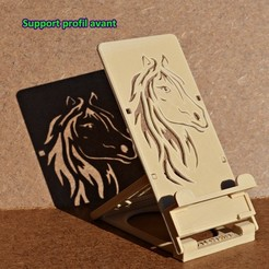 "1 - Support profil avant.JPG Download STL file FOLDING STAND FOR SMARTPHONE OR TABLET ....  Foldable support for mobile phone and small digital tablet - pattern: ""Horse"" - Pattern: Horse • 3D printing design, alcreations"