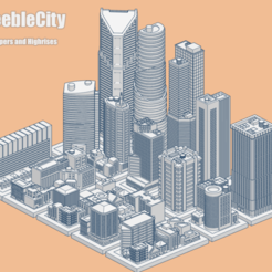 GreebleCity05Skyscrapers.png Download free STL file GreebleCity Set 05: Skyscrapers and High-rises • 3D printer design, Fisk400