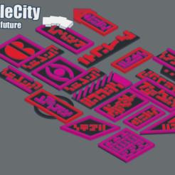 Imprimir en 3D gratis GreebleCityBits: Señales del futuro, Fisk400