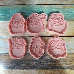 SET 01.jpg Télécharger fichier STL Set x 6 Découpe et estampage du visage du Père Noël - Set x6 Découpe et estampage du visage du Père Noël • Objet pour imprimante 3D, quinteroslg