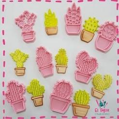 Cactus Set.jpeg Download STL file CACTUS CUTTER AND STAMP SET - CACTUS CUTTER AND STAMP SET x 10 • 3D printing model, quinteroslg