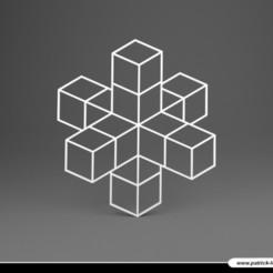 2002PLB011_Sous_verre_05_CROIX.jpg Télécharger fichier STL Sous verre 05 - Trompe l'oeil – CROIX • Objet pour imprimante 3D, Pix0pat