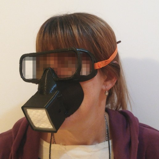 Download free STL files Reusable respirator face fitting mask with eyes protection. For HEPA or any other DIY filter, feder_ico