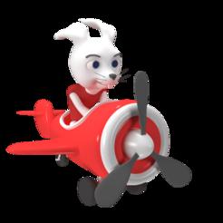 1.png Download STL file Aeroplano Cartoon y Conejo Aviador • 3D print model, estebanb