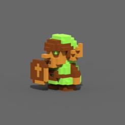 Download 3D printing files Legend Of Zelda NES link, Pixelcube