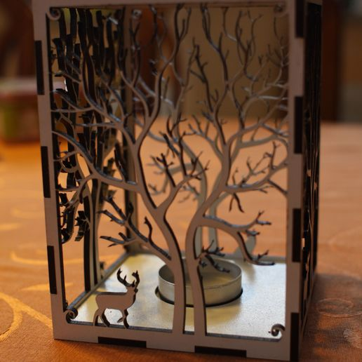 IMG_0730.jpg Download free STL file candle holder laser cut Tree & Animals wood present tea candle • 3D printer design, Urgnarb