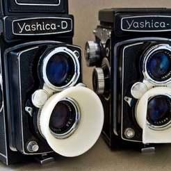 yashicahood1.jpg Télécharger fichier STL gratuit Pare-soleil d'objectif Yashica D • Design pour impression 3D, Urgnarb