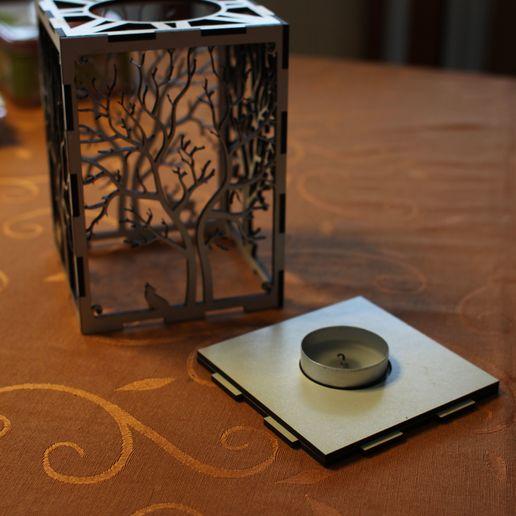 IMG_0738.jpg Télécharger fichier STL gratuit bougeoir bougeoir découpe laser Arbre & Animaux en bois bois présent bougie thé • Plan pour impression 3D, Urgnarb