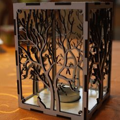 Download free STL file candle holder laser cut Tree & Animals wood present tea candle • 3D printer design, Urgnarb