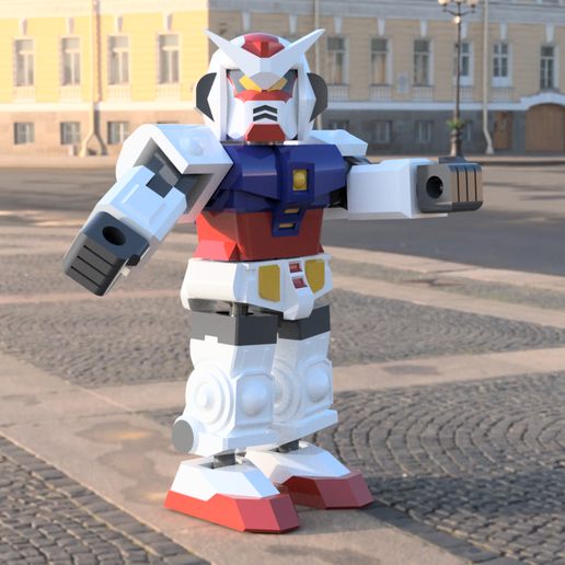 GundamToyFront.png Download free STL file Gundam inspired robot toy • 3D print model, Piggie