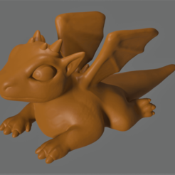 Download free 3D printer designs Boris the Baby Dragon, Piggie