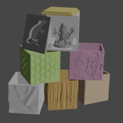 BoxesFINAL.png Download free STL file Tabletop Miniature Boxes [HeroForge compatible] • 3D printing design, Piggie