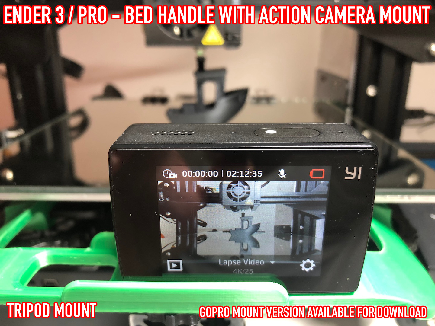 11.jpg Download free STL file ADKS - Ender 3 Bed Handle with action cam mount • Template to 3D print, Adarkstudio