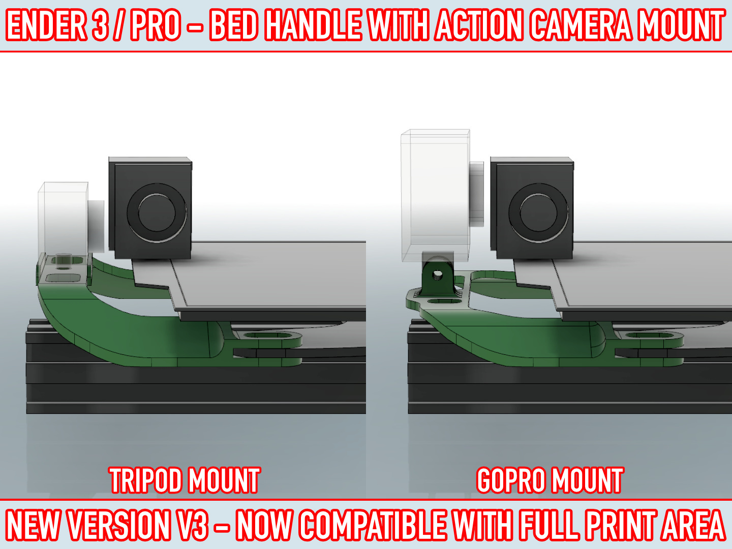 02.jpg Download free STL file ADKS - Ender 3 Bed Handle with action cam mount • Template to 3D print, Adarkstudio