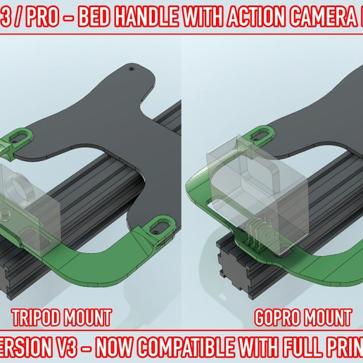 03.jpg Download free STL file ADKS - Ender 3 Bed Handle with action cam mount • Template to 3D print, Adarkstudio