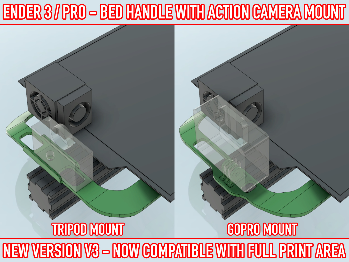 01.jpg Download free STL file ADKS - Ender 3 Bed Handle with action cam mount • Template to 3D print, Adarkstudio
