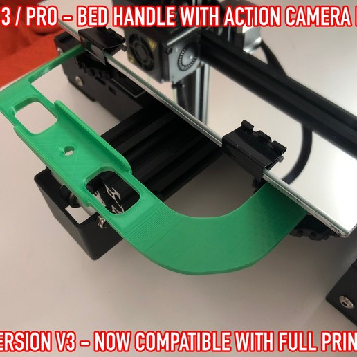Download free 3D printer templates Ender 3 / Pro - Bed handle with action cam mount, Adarkstudio