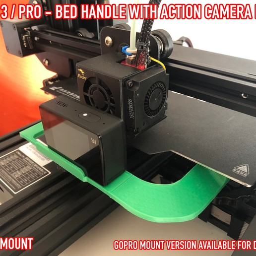 10.jpg Download free STL file ADKS - Ender 3 Bed Handle with action cam mount • Template to 3D print, Adarkstudio