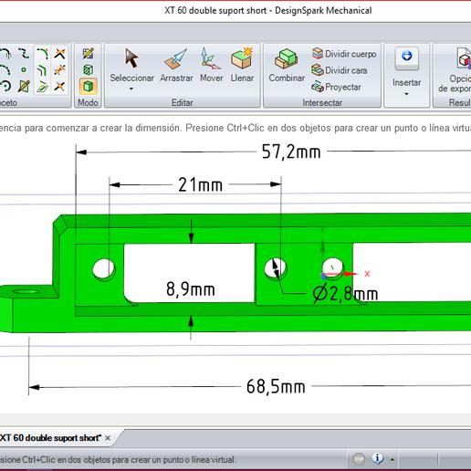 Captura_rsdoc_XT60.PNG Download free OBJ file X Class parts, double XT60 box • 3D printer design, PaulDrones