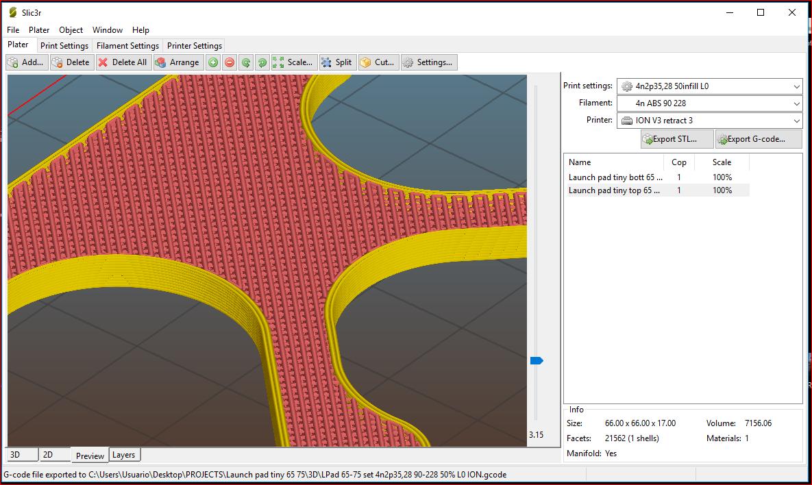 Launch_set_infill.PNG Download free OBJ file Launchpad para Tinywhoop de 65 & 75mm. (2 en 1) • 3D printer design, PaulDrones