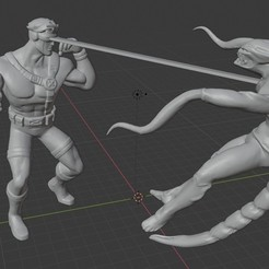 Download STL file X-men Diorama: Cyclops vs the Brood. , Tronic3100