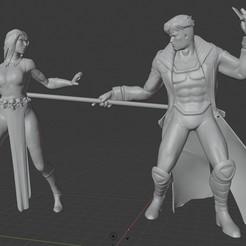 Descargar modelos 3D para imprimir Diorama de los X-men: Gambito contra Mística., Tronic3100