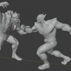 A001.jpg Télécharger fichier STL Diorama X-men : Wolverine contre Sabertooth. • Plan à imprimer en 3D, Tronic3100