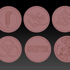 6 led zeppelin 01.png Télécharger fichier STL 6 Medaillons Led Zeppelin  • Plan imprimable en 3D, edbo