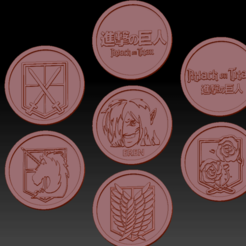 7 Attack on titans01.png Download STL file 7 Attack On Titan Medallions • 3D printer object, edbo