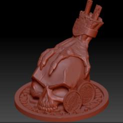 Skull hand 01.png Download STL file Skull Hand Harley Davidson • 3D print object, edbo