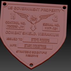 Badge Captain America01.png Télécharger fichier STL Badge Captain America • Design pour imprimante 3D, edbo