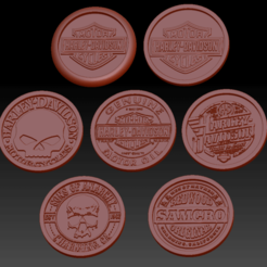 Download STL file 7 Medallions Bikers • Object to 3D print, edbo