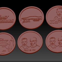 6 fast and furious.png Download STL file 6 Fast and Furious Medallions • 3D printable design, edbo