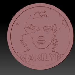 Marilyn Monroe01.png Download free STL file Medallion Marilyn Monroe • 3D printing object, edbo