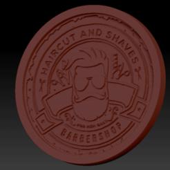 Barber shop03.png Download free STL file Medaillon Barber Shop • 3D printer model, edbo