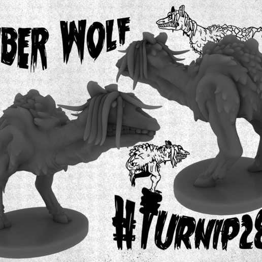 Download free 3D printer designs Wargaming Miniatures - Tuber Wolf and Giant Mushroom, Rosegold_Ramparts