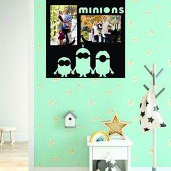 Download 3D printing templates Minnions photo frame, zafirah99