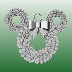 Mickey corona navideña.jpg Download STL file Ears Christmas Ornament • 3D printing object, zafirah99