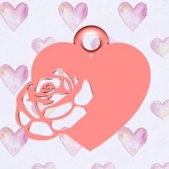 corazon rosa real.jpg Download STL file Heart and rose pendant • 3D print template, zafirah99