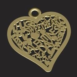 corazon letras render.jpg Download STL file Happy Valentines heart pendant • 3D printing object, zafirah99