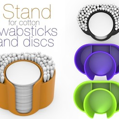Download free 3D printing designs Stand for cotton swabsticks and discs, Ruvimkub