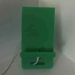 greenphonestand1.jpg Download free STL file Phone Stand (with built-in holes for charging cables) • Model to 3D print, MakerMathieu