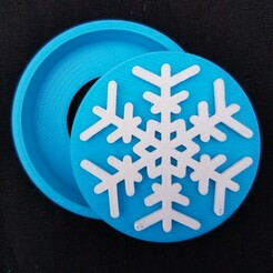 20201212_094410.jpg Download STL file Snowflake Snap Badge • 3D printer template, abbymath