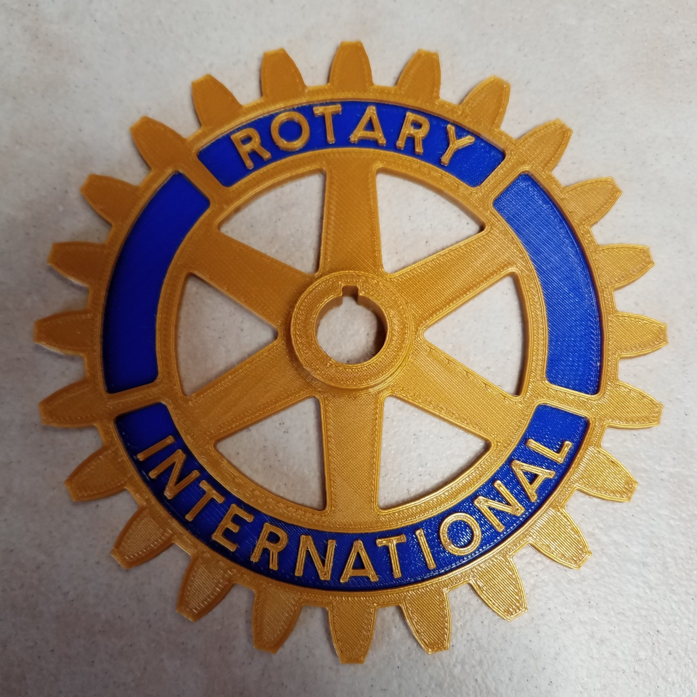 Rotary Wheel Print  Top.jpg Download free STL file Rotary International Symbol - Dual Extrusion • 3D printer template, abbymath