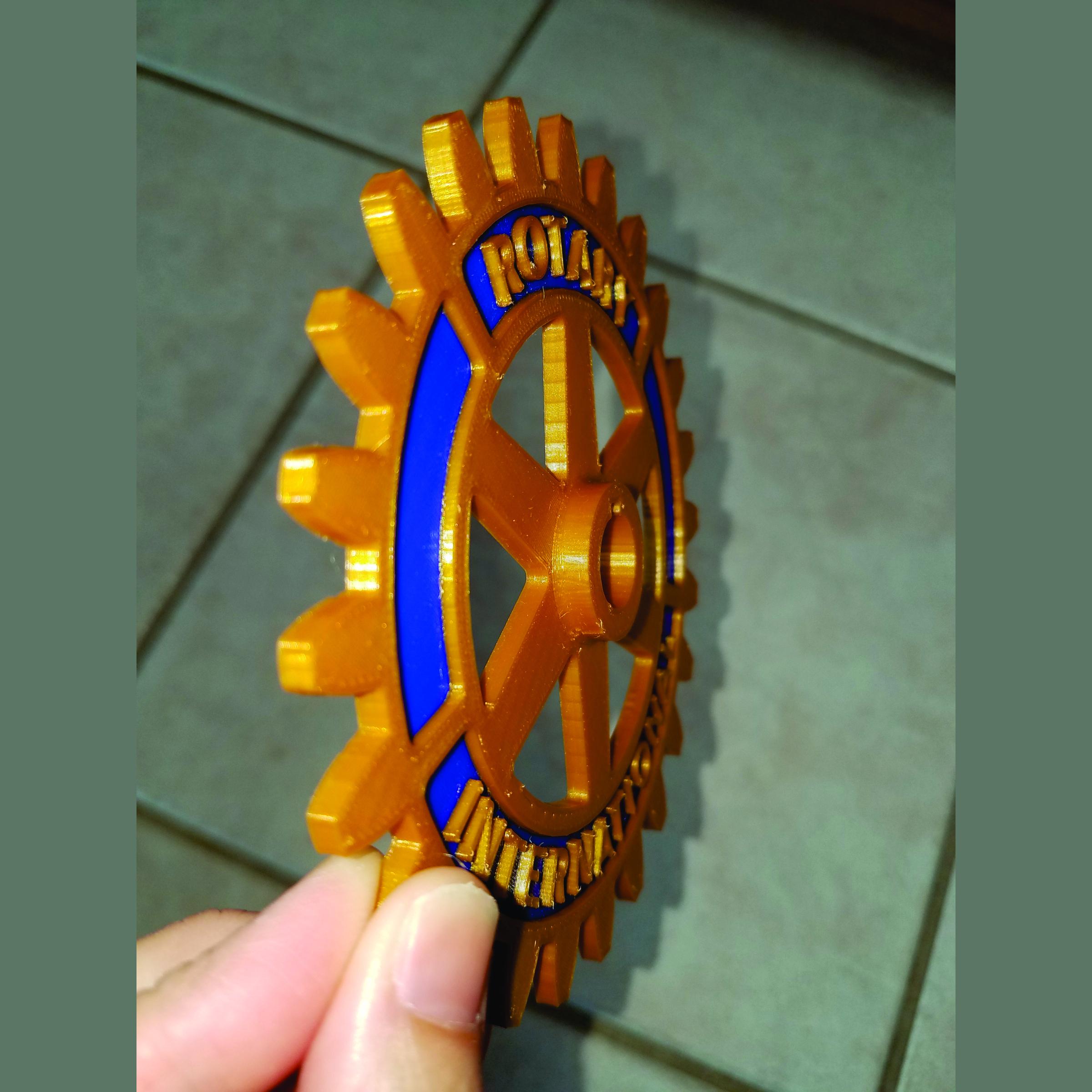 Rotary Wheel Print Side.jpg Download free STL file Rotary International Symbol - Dual Extrusion • 3D printer template, abbymath