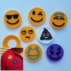 Emoji Snap Badge Set with Shirt.jpg Télécharger fichier STL Ensemble de badges Emoji Snap Badge • Modèle à imprimer en 3D, abbymath