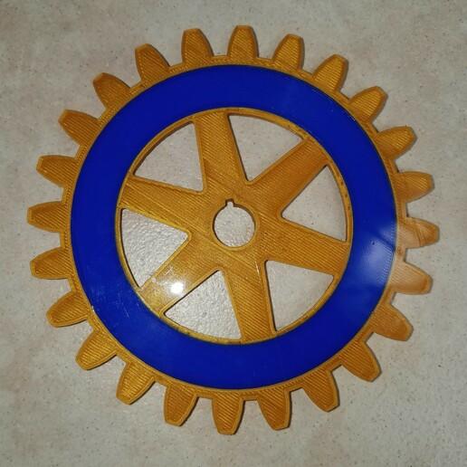 Rotary Wheel Print Back.jpg Download free STL file Rotary International Symbol - Dual Extrusion • 3D printer template, abbymath